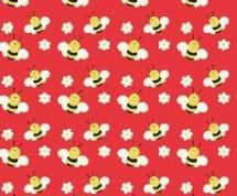 Fabric Freedom Camping - 4251 - Bumblebees on Orange - FF93-1 - Cotton Fabric